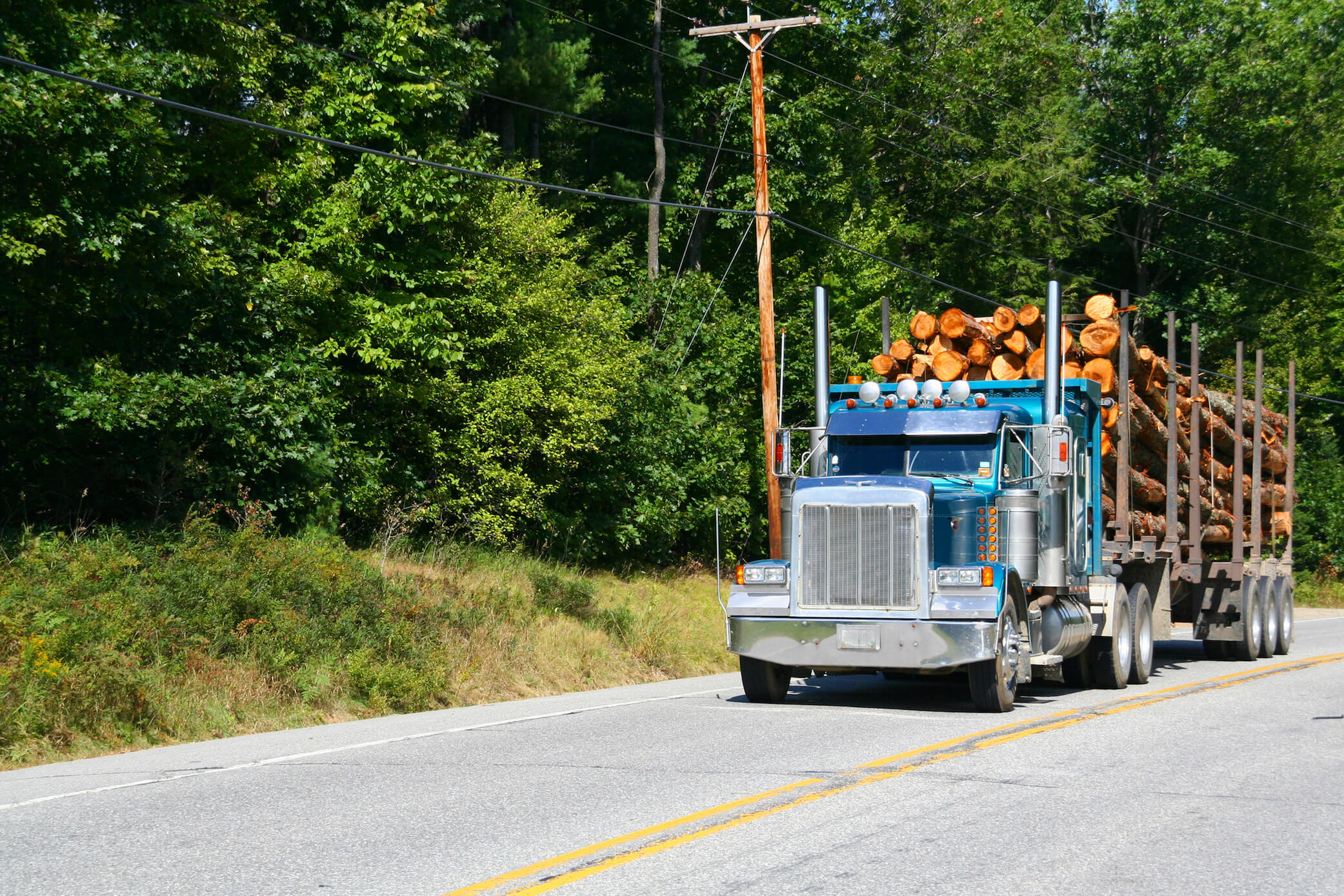 Maine's mature forestry industry delivers raw material to mills daily.