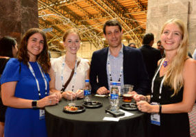 Biobased Maine networked with industry leaders and business executives at the 2018 BIO World Congress last week in Philadelphia. From left to right: Elizabeth Kaufman, account director at SmartBrief; Marina Bowie, program associate at Biobased Maine; Gideon Gradman, managing director at Integrated Energy Advisors; and Dr. Virginie Le Ravalec, engineer at Ademe.